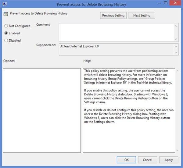 Evitar que los usuarios eliminen el historial de navegación y las cookies en IE