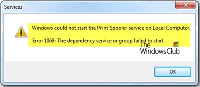 Error de servicio del administrador de trabajos de impresión 1068, El servicio o grupo de dependencias no se ha iniciado 2