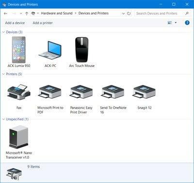 El icono de la impresora no se muestra en Dispositivos e impresoras en Windows 10
