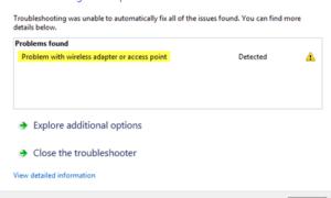 Problema con el adaptador inalámbrico o el punto de acceso, dice Network Diagnostics Troubleshooter