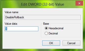 Desactivar la función de retroceso de Windows Installer en Windows 10/8/7 2