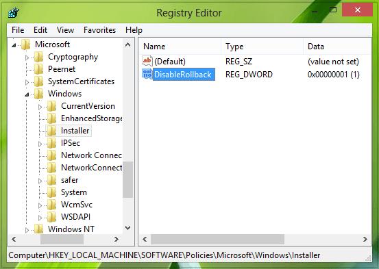 Desactivar la función de retroceso de Windows Installer en Windows 10/8/7 1