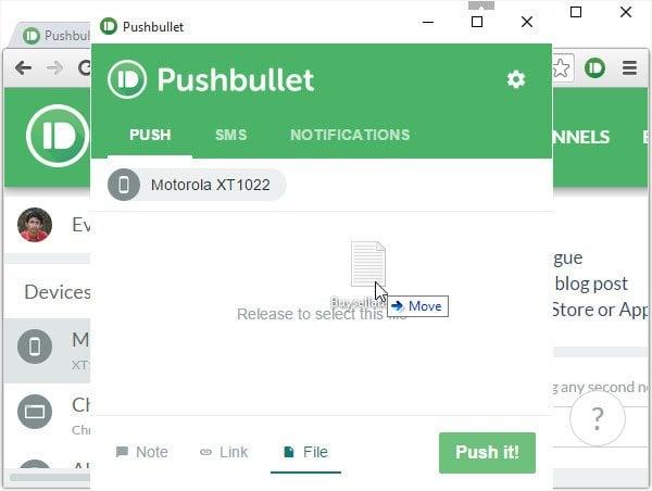 Pushbullet: Aplicación gratuita para transferir datos de Windows PC a teléfono, tableta, etc.