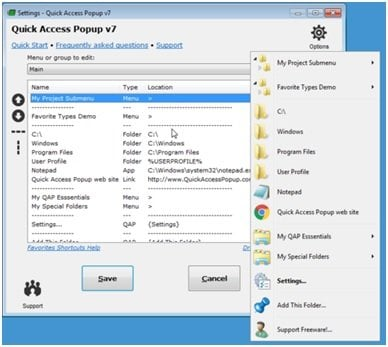 Ventana emergente de acceso rápido: Gestione fácilmente los archivos y carpetas de uso frecuente