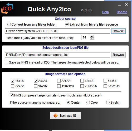 Crear o hacer iconos a partir de una imagen o extraer imágenes de un icono con Quick Any2Ico