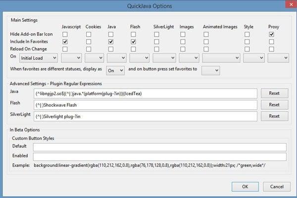 Deshabilitar, habilitar, Java, JavaScript, Flash en Firefox con QuickJava