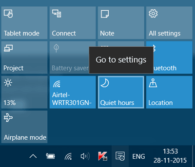 Activar o desactivar las horas de silencio en Windows 10 1