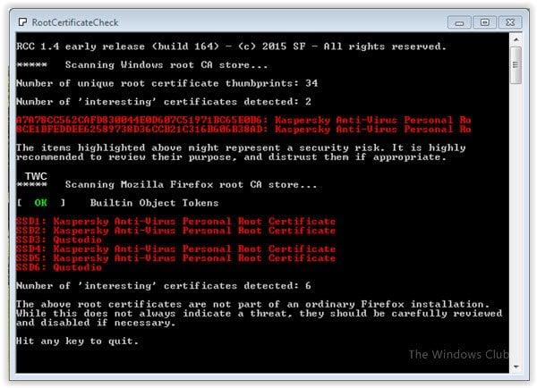 RCC: Escáner gratuito para analizar los certificados raíz de Windows en busca de personas no confiables.