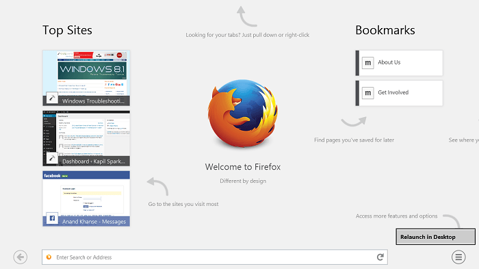 La aplicación Mozilla Firefox para Windows optimizada para Touch - Revisión 5