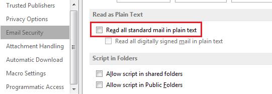 Cómo ver y leer todo el correo estándar en texto plano en Microsoft Outlook 2016