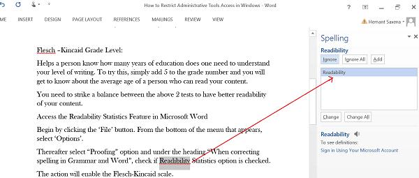 Estadísticas de legibilidad en Microsoft Word 4