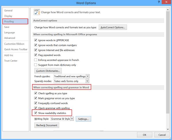 Estadísticas de legibilidad en Microsoft Word 3