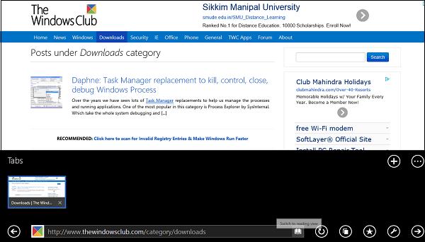 Vista de lectura en Internet Explorer Versión moderna de la interfaz de usuario 1