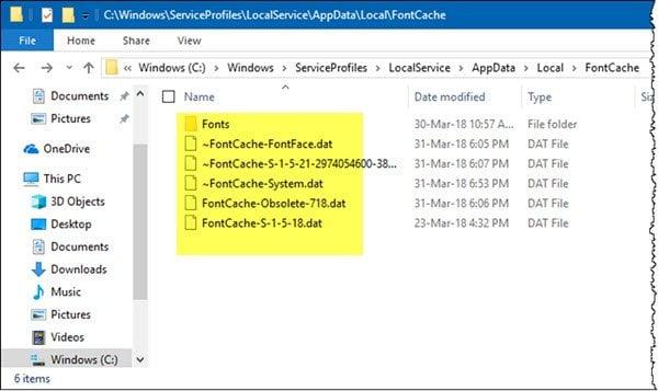 Cómo reconstruir la caché de fuentes en Windows 10