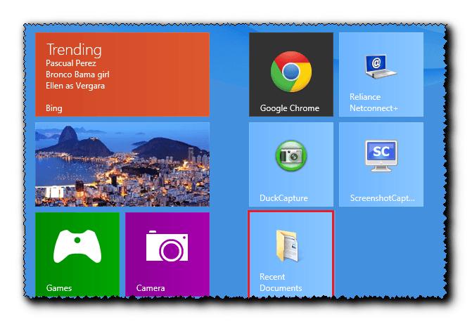 Anclar el menú Documentos recientes Pantalla de acceso directo a la página de inicio de Windows 8 6