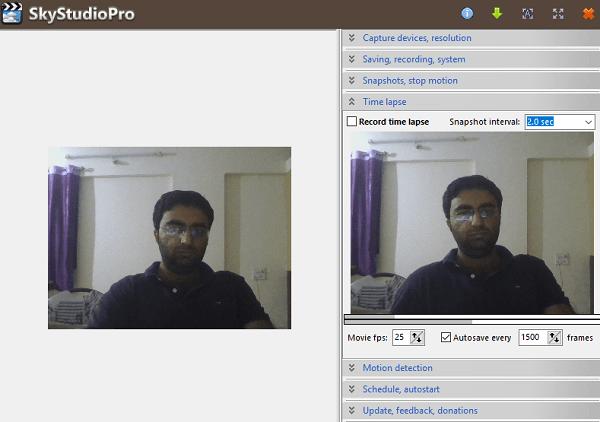 SkyStudioPro es un software gratuito de detección de movimiento y lapso de tiempo