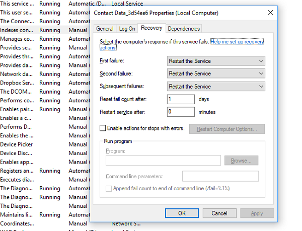 Cómo encontrar las dependencias de un servicio de Windows