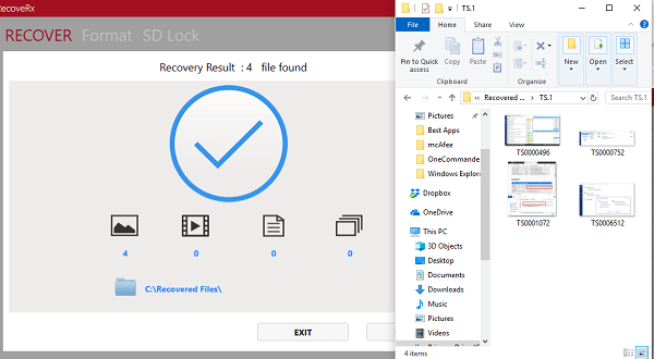RecoveRx le permite recuperar archivos borrados de dispositivos de almacenamiento