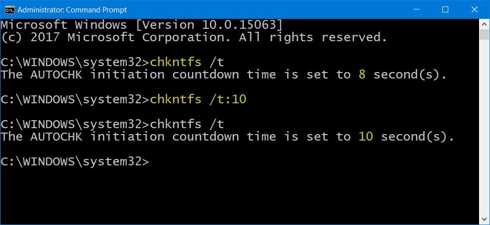 Cómo reducir el tiempo de cuenta atrás de ChkDsk en Windows 10