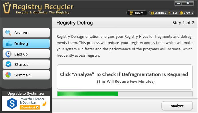 Registry Recycler Portable es otro limpiador y desfragmentador del registro