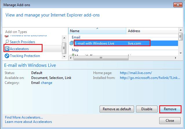 Desactivar el botón Acelerador en Internet Explorer