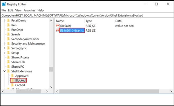 Eliminar la opciónDar acceso a del menú contextual en Windows 10