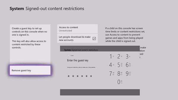 Cómo restablecer la clave de invitado en la consola Xbox One