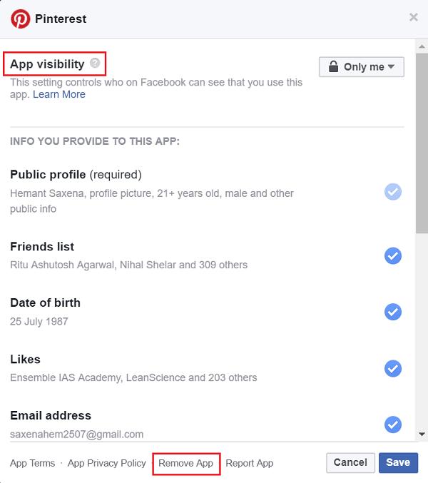 Elimina las aplicaciones de terceros en las que hayas utilizado Facebook para iniciar sesión. 2