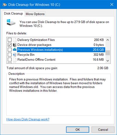 Eliminar instalaciones anteriores de Windows después de una actualización a Windows 10 y liberar espacio en disco
