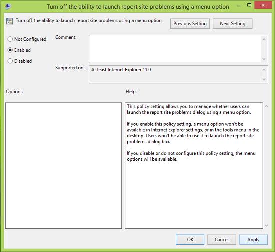 Habilitar o deshabilitar el informe de problemas del sitio web en Internet Explorer 11