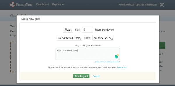 RescueTime Lite es una herramienta gratuita de seguimiento del tiempo, gestión y productividad 2