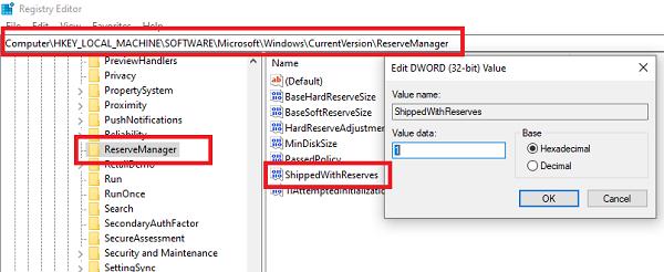 Cómo habilitar o deshabilitar el almacenamiento reservado en Windows 10