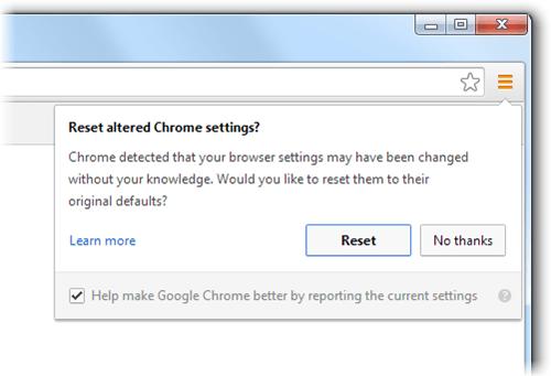 Chrome ofrece restablecer la configuración del explorador si detecta un secuestro del explorador.