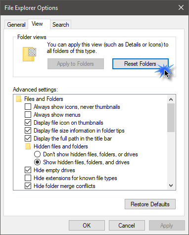 Cómo restablecer la vista de carpetas en Windows 10 1