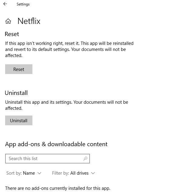 Corregir que la aplicación Netflix no funciona en Windows 10
