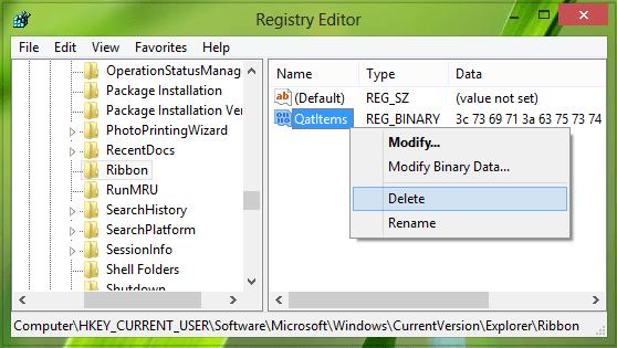 Restablecer la barra de herramientas de acceso rápido del Explorador de archivos usando Registry en Windows 10