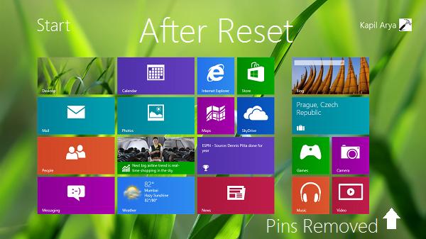 Restablecer la pantalla de inicio a su valor predeterminado en Windows 8 2