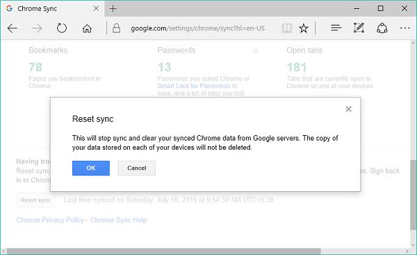 Corrección: La sincronización de Google Chrome no funciona