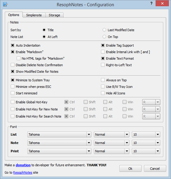 ResophNotes: Crear notas y sincronizar con Simplenote 3