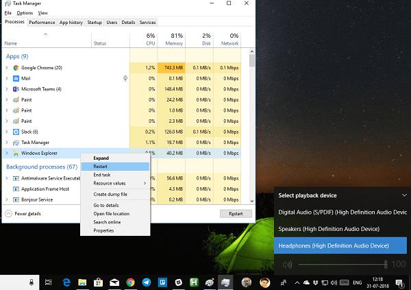 La barra de tareas ha desaparecido del escritorio en Windows 10 2
