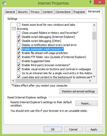 Corrección: Internet Explorer no restaura las pestañas de las últimas sesiones