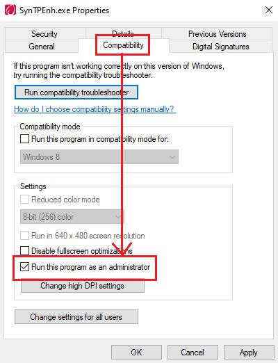 No se puede conectar al controlador del dispositivo de puntero Synaptics