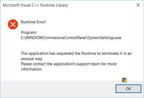 Esta aplicación ha solicitado a Runtime que la termine de una manera inusual