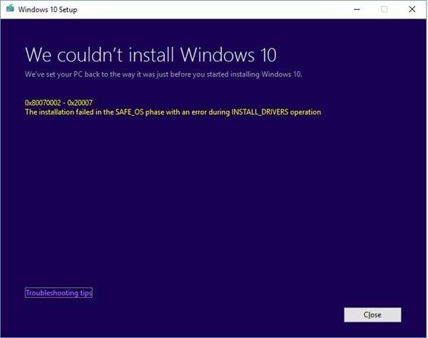 Errores en la instalación, actualización o actualización de Windows 10