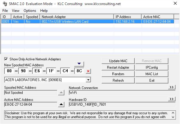 Herramientas gratuitas de cambio de dirección MAC para Windows 10/8/7