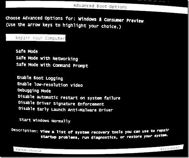 Cómo arrancar en modo a prueba de fallos al arrancar Windows 7 con Windows 8
