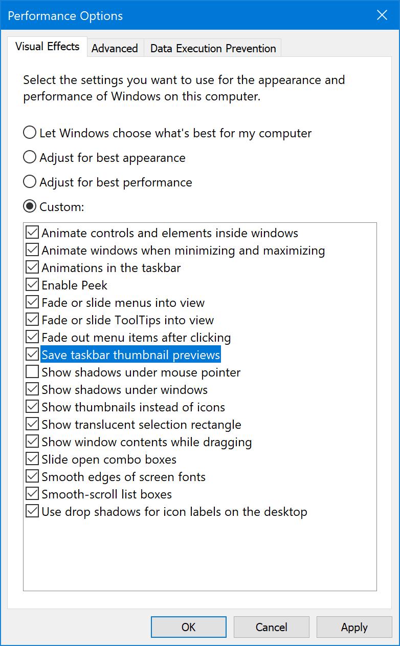 Iconos que no se muestran en el cuadro de búsqueda de Windows en Windows 10