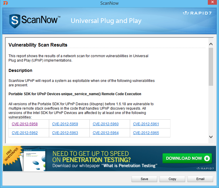 ScanNow UPnP: Buscar redes vulnerables para dispositivos