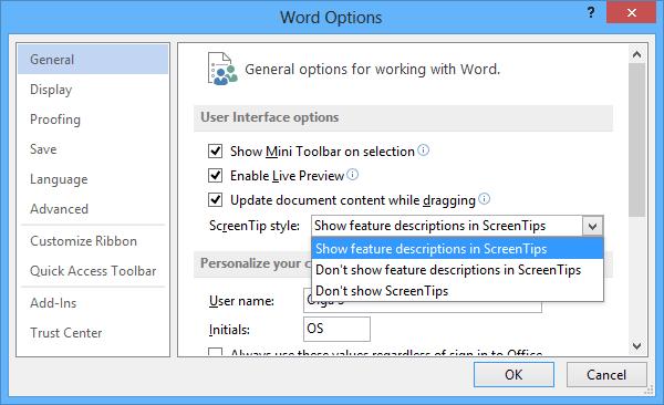 Cómo habilitar las teclas de acceso directo en ScreenTips en Word 2013