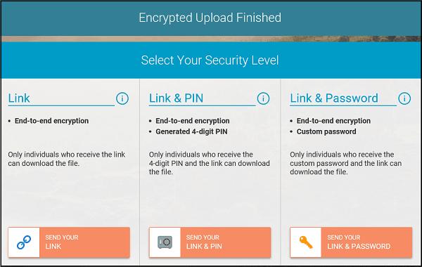 Whisply le permite transferir archivos a través del servicio Cloud Storage utilizando Encryption 4